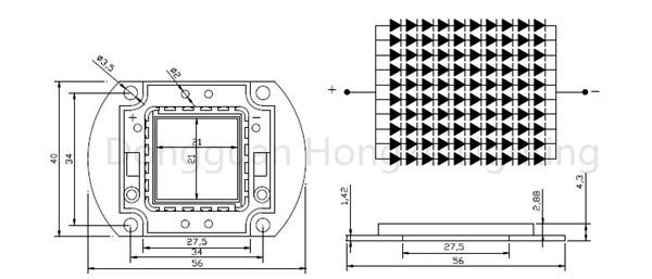 Bridgelux Epistar LED Chip 100w 10000 Lumen White High Power LED Diode