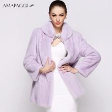 personalizzati lungo viola donne cappotto di pelliccia di visone reale con collare supporto