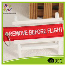Customized promotional gifts remove before flight embroidery keychain