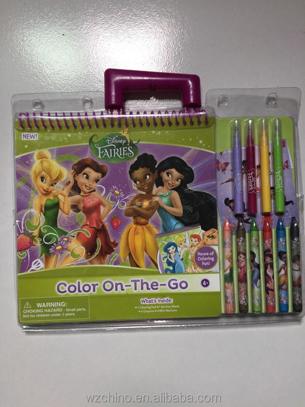 2015 New Design Drawing Set Kids Coloring Book With Crayons And
