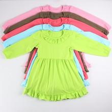 Simple design ruffle beautiful baby kids pure cotton dresses