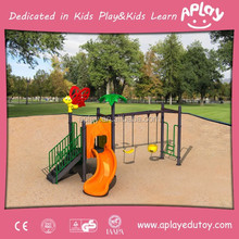 Min kids outdoor playground with wave slide and two chair swings for children amusement park and kindergarten playing AP-SW2005