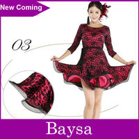 Adult contrast color long sleeves latin competition dance dress LD-001