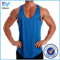 Yihao New custom men stringer tank top 100% polyester racerback bodybuilding muscle shirt wholesale plain blue gym tank tops