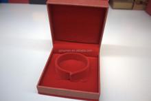 custom red velvet jewelry packaging box for golden bangle/bracelet