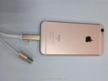 2015 el más nuevo estilo 2 en 1 rosa de oro de datos de sincronización y carga cable usb para Samsung / HTC / LG / iphone
