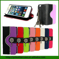 NEW Products wholesale price flip cover stand leather back case lichee pattern for iphone5c