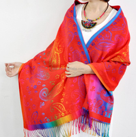 Silk Satins Gradient Paisley Pashmina Shawl Wrap in elegant colors