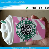 Promotion mobile case for iphone 6 Starbucks coffee deisgn silicone case