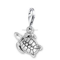 Cheap Zinc Alloy Antique Silver Plated Lobster Clasp Sea Turtle Charm Jewelry