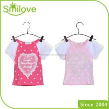 Short sleeve heart pattern sport summer 2015 discount hot sell children's clothing factory little girl tee shirt