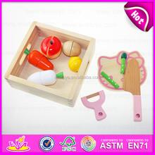 2015 Novelty Children Wooden Cutting Fruit Toy,Wooden Cutting Toys&Play Fruit,Green paint wooden pretend cut fruit toy W10B110