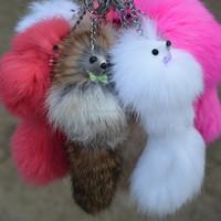 10pc/lot Small fox rabbit fur mobile phone pendant keychain bags pendant
