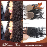 16'' deep curl silk base closure virgin Brazilian hair free part silk closure with hair weave bundles