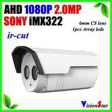 "1pcs array led 6mm cs lens ahd camera 1080p 2.0mp 1/3"" sony imx322 high performance outdoor bullet hidden surveillance cameras"