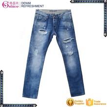 Blue color damaged cutting washed slim design men wholesale cheap jeans