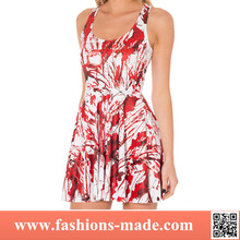 Women's Digital Printed Floral white and red pleated dress for wholesale