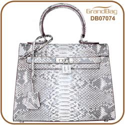 Luxury New Fashion White Color Women Hand bag Real Python Snake Skin Leather Handbags Shoulder Bag