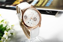 Fashion Vogue Women Leather Watch Brand Design Lady Casual Analog Flowers Dress Watches