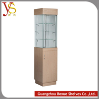 High End Standing Wood Used Jewelry Glass Display Cases with Light