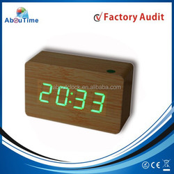 Digital and wood type cheap LED digital clock with Voice control clock/home decor led alarm clock