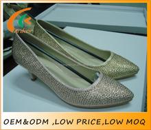 2016 kitten heels women footwear shoes Peaked vamp with gold stud