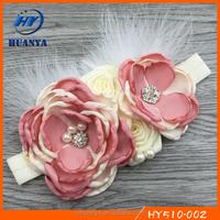 Latest fancy elastic ivory girls pearl feather cream piped big flower newborn girls headband