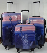 hot sale ABS printed hard shell luggage with 4 double wheel New York Lady Liberty pattern