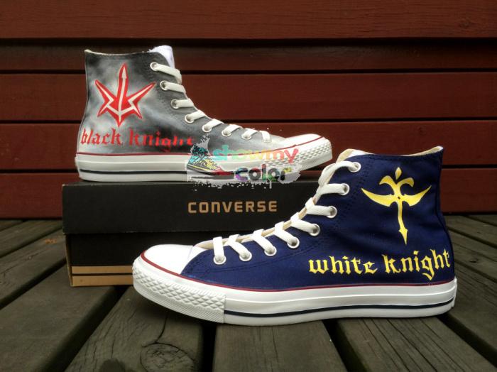 Code Geass Converse White Black Knight Symbol Hand Painted Fashion
