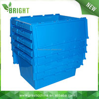 square blue plastic logistic crate with lid