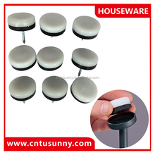 Durable silver and black plastic furniture glides for chairs