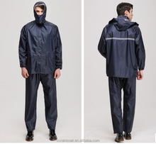 black protective 190T waterproof orange adults polyester raincoat/rain suit with reflective strips