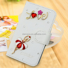 3D Rhinestone Flip leather Cell phone case cover for htc desire 510 A11