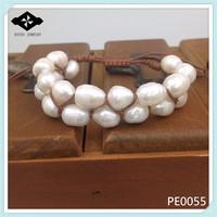 PE0055 2015 New Updated Tan Color Wax Cord Women Fancy Freshwater Pearl Shamballa 2 Row Bracelet