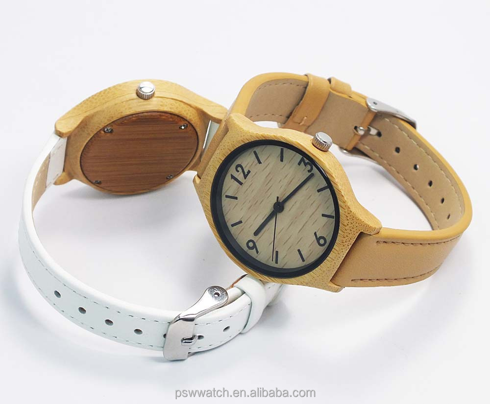 Custom logo watches fahsion bamboo watches with leather watch strap