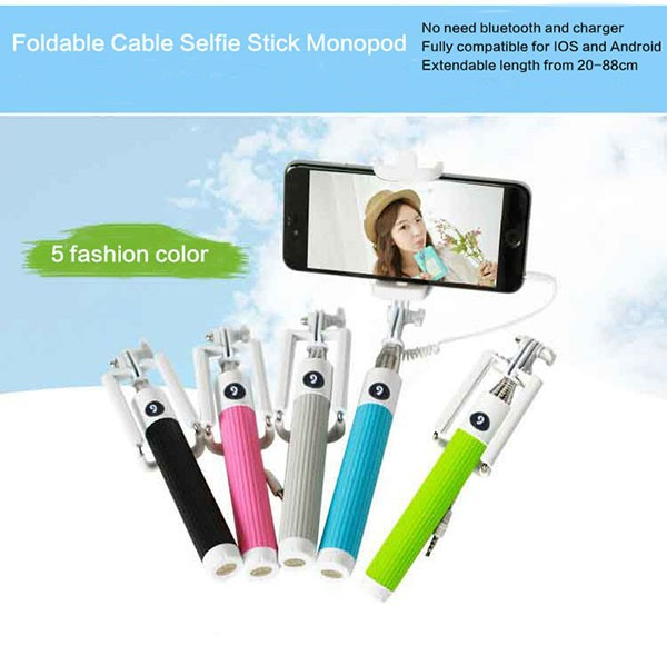 wholesale 2015 newest foldable mini cable selfie stick for iphone 6 buy sel. Black Bedroom Furniture Sets. Home Design Ideas