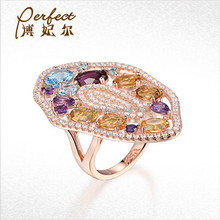 pretty gift luxury ring jewelry with colour CZ
