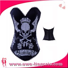 2015 fashion shape up with sexy skull pattern, thermal corset