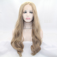 natural look premium blonde highlight body wave wigs natural wavy synthetic lace front wig heat resistant fiber