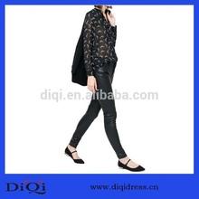 venta caliente elegante patrón de la impresión de manga larga de gasa blusa de mujer