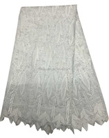 L-1007-7 White African Nigeria fashion elegant organza lace for Hollween lace fabric