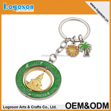 2015 New custom spinning metal souvenir Turkey key chain