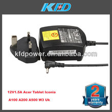 new adapter 12V1.5A power adapter for Acer Tablet Iconia A100 A200 A500 W3