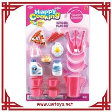 19 unids plástico niños juegos de imaginación cocina establece juguete, utensilios de cocina set juguete para la promoción