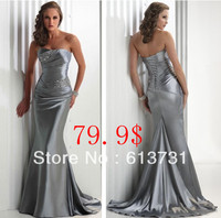 Real Pictures Long 2014 Hot Style Elastic Satin Formal Cheap Patterns For Silver Bridesmaid Dresses LFC035