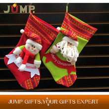 Cheapest Christmas stocking,very popular fashion cutest double green red xmas stocking