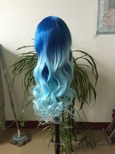 wholesale synthetic hair wig weavly all machine made blue wig in two tone ombre color