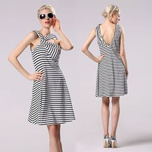 Women modern sexy cross front short open back deep V back stripe ladies elegant sleeveless casual dresses YC000145