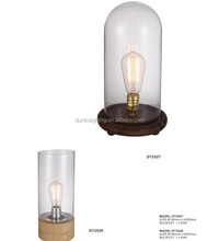 Simple Clear Glass Cylinder Table Lamp With Edison Bulb Wooden Base Flexible Reading Light