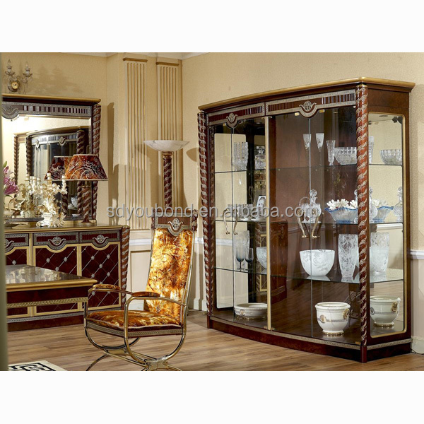 0026 italy classic dining room furniture set wooden glass for Showcase designs for living room with glass